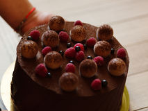 Closeup of a chocolate cake with raspberries and black currants a confectioner puts on a table on blurred background. Stock Photos
