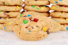 Closeup of chocolate chip candy cookies Stock Photos