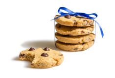 Closeup of chocolate chip cookies pile isolated Stock Photos