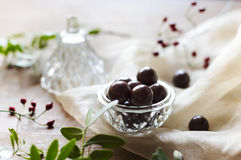 Closeup of chocolate dragee in a glass bowl. Fresh decor Royalty Free Stock Photos