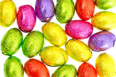Closeup of chocolate easter eggs in colorful foil Stock Image