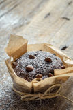 Closeup of chocolate muffin with sugar Royalty Free Stock Photos
