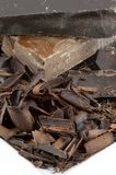 Closeup Chocolate Pile on White Plate Royalty Free Stock Photos