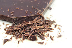 Closeup of chopped chocolate Royalty Free Stock Photos