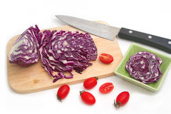 Closeup of Chopped Red Cabbage with tomato Royalty Free Stock Photography