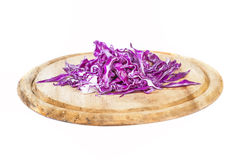 Closeup of Chopped Red Cabbage on Wooden Cutting Board Stock Image