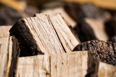 Closeup of chopped wood logs Royalty Free Stock Images