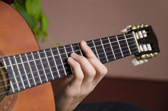 Closeup of chord on classic guitar Stock Images