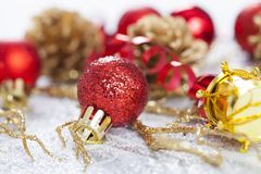 Closeup on Chrismas decorations Stock Photos