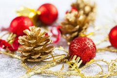 Closeup on Chrismas decorations Royalty Free Stock Images