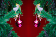 Closeup Christmas ball on red background from Christmas tree Stock Photos