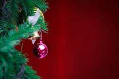 Closeup Christmas ball on red background from Christmas tree Royalty Free Stock Photography