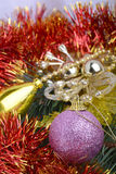 Closeup of Christmas balls and green fir tree branch, new year card Royalty Free Stock Photography