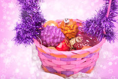 Closeup on Christmas basket Royalty Free Stock Photos