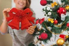 Closeup on Christmas bell decoration Stock Photos