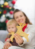 Closeup on Christmas cookies in mother hand Stock Photography