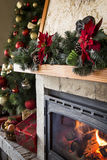 Closeup of christmas decorated fireplace Stock Image