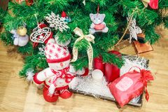 Christmas background close up tree and decorations stock image
