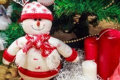Christmas background close up tree and decorations stock photos