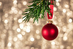 Closeup of christmas decorations with bright colorful bokeh on background Royalty Free Stock Photo
