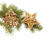 Closeup of Christmas decorations and fir branch with snow Stock Photo