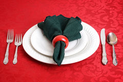 Closeup of christmas dinner setting Stock Photos