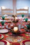 Closeup of christmas dinner table stock image