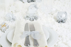 Closeup christmas dinner table setting Royalty Free Stock Images