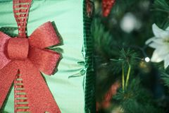 Closeup on Christmas gift in hand of woman near Christmas tree royalty free stock photos