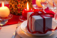 Closeup of Christmas gift on the table Royalty Free Stock Photography