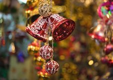 Closeup of Christmas holiday tree decorations with bokeh on background.  Stock Photo