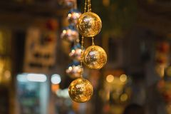 Closeup of Christmas holiday tree decorations with bokeh on background.  Stock Photography