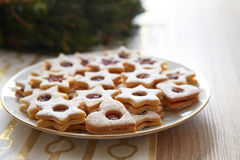 Closeup of Christmas Linzer cookies Stock Photo