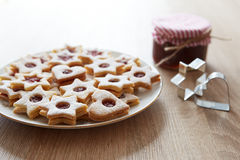 Closeup of Christmas Linzer cookies Stock Photography