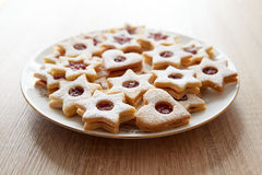 Closeup of Christmas Linzer cookies Stock Photos