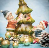 Closeup of Christmas ornaments. Children decorate the New Year tree. Christmas decorations on the Christmas tree. closeup of stock images