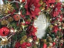 Closeup Christmas ornaments with lighting. Christmas ornaments with lighting, red green gold Stock Photos