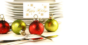 Closeup of christmas place card holders Royalty Free Stock Photos