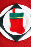 Closeup christmas place setting with stocking Stock Images