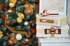 Closeup Christmas present boxes wrapping Stock Photos