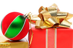 Closeup christmas presents with ornament Royalty Free Stock Image