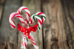Closeup christmas sweet candy in the glass on the background Royalty Free Stock Image