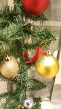 Closeup of Christmas tree decorations Royalty Free Stock Image
