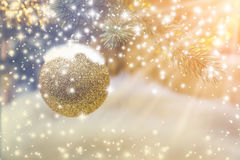 Closeup of Christmas-tree with decorations items. In light and bokeh background with light flare effect christmas and newyear festive concept Royalty Free Stock Photos