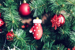Closeup of Christmas-tree decorations. Royalty Free Stock Image