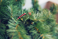 Closeup of Christmas-tree decorations. Royalty Free Stock Photography