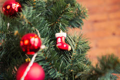 Closeup of Christmas-tree decorations. Royalty Free Stock Photo