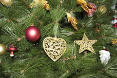 Closeup of Christmas-tree decorations Stock Photos