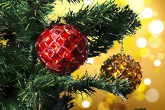 Closeup of Christmas-tree decorations Royalty Free Stock Image