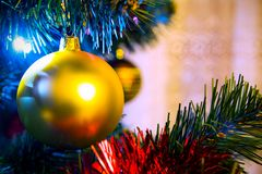 Closeup christmas tree with golden bauble. Royalty Free Stock Image